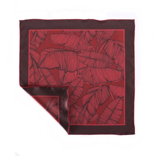 Poszetka czerwona jedwabna z grafiką liści Brunon Muszynski