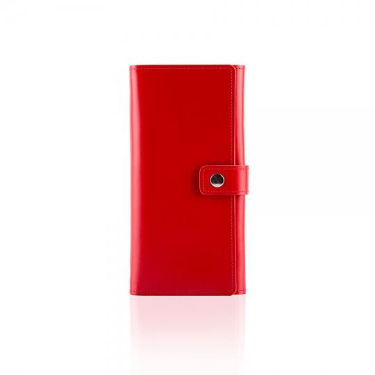 portfel czerwony damski skórzany