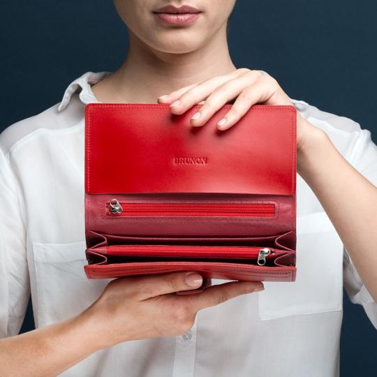 portfel czerwony skórzany damski