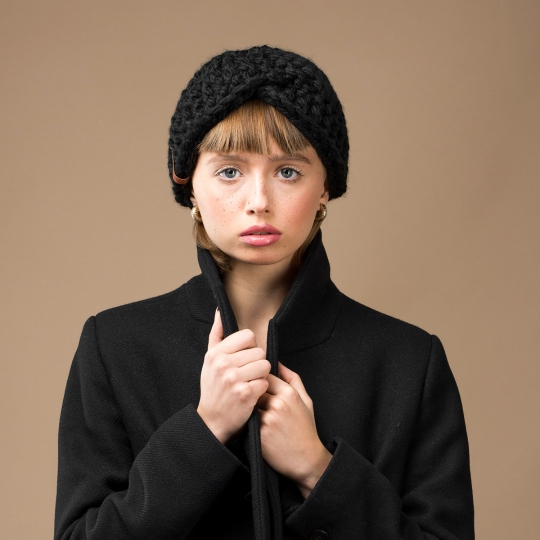 Opaska zimowa damska na głowę czarna wełniana alpaka - Brunon Muszynski